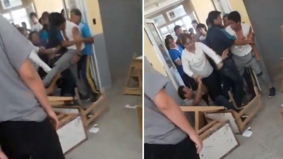 Video: un alumno desaprobó un trabajo práctico y agarró a patadas a su profesor