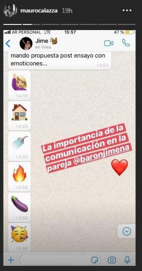 Caiazza mandó al frente a Jimena Barón al mostrar sus mensajes hot