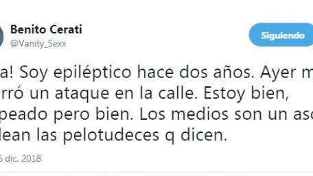 Benito Cerati reveló que tiene epilepsia hace dos años