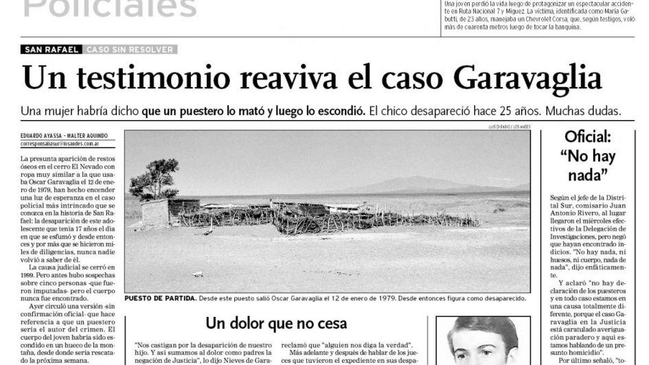 La misteriosa desaparición del mendocino Oscar Garavaglia