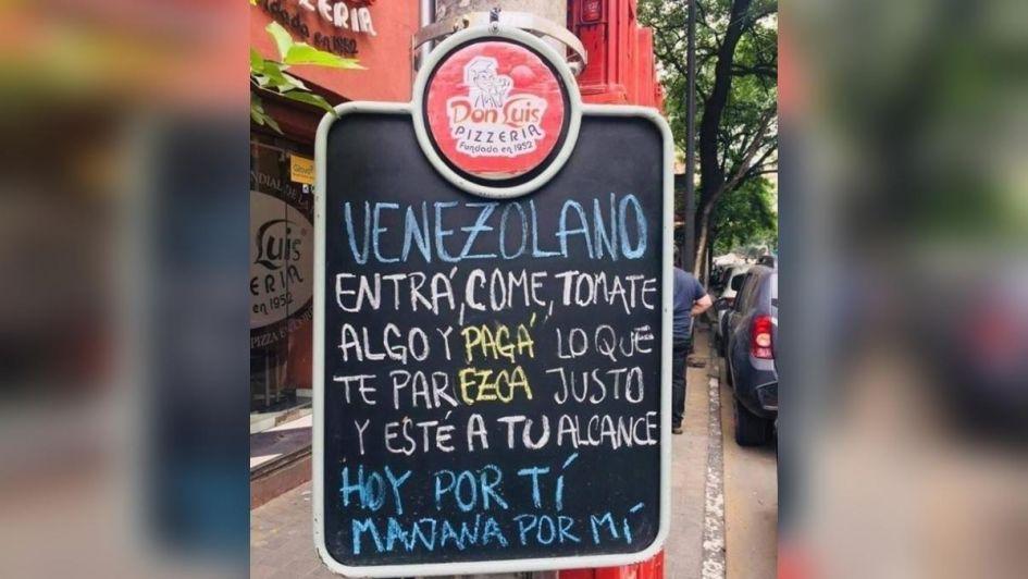 El hermoso gesto de una pizzería argentina con los inmigrantes venezolanos