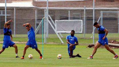 El goleador presente. El Morro García estuvo ayer en el inicio del trabajo tombino.