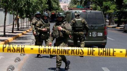 Carabineros de Chile en el lugar de la explosión.