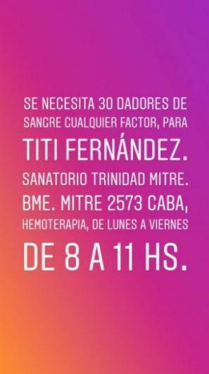 Piden dadores de sangre para Tití Fernández