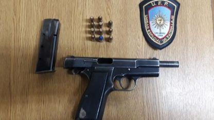 El arma secuestrada en Las Heras