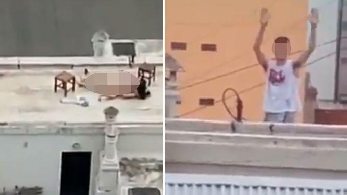 Los filmaron teniendo sexo en la terraza de un edificio de Buenos Aires