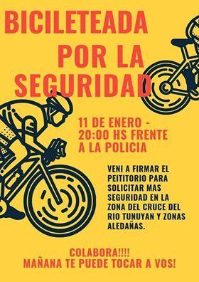 Bicicleteada en Rivadavia  por más seguridad ante los robos