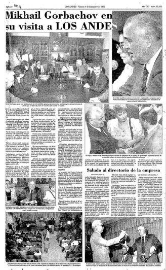 Mijaíl Gorbachov: el día que pasó por Mendoza