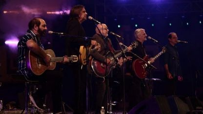 Juntos como antes. Adrián Abonizio, Fabián Gallardo, Baglietto, Garré, Rubén Goldín y Fandermole.