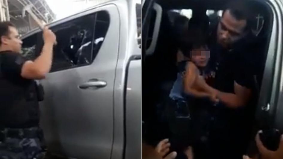 Cuál fue la reacción del hombre que dejó encerrado a su hijo en la 4x4 al ver a la Policía