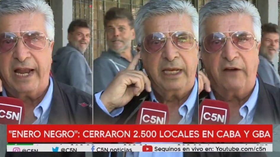 Alfredo Casero se burló en vivo de un comerciante desesperado por la crisis