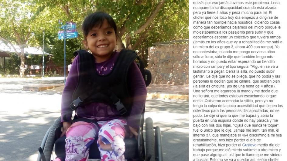 Denunció que un chofer discriminó a su hija en silla de ruedas y las bajó del micro