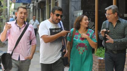 """Mauricio Morello, Eduardo Ripari, Patricia Amico y Sergio """"Coco"""" Gras ya empezaron a organizarse para la gran noche del 9 de marzo."""