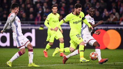 Lionel Messi durante el partido frente al Lyon de Francia.