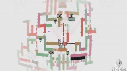 Etéreo. Una imagen del juego en el que hay que ir pasando los diferentes inconvenientes que se les plantean al jugador.