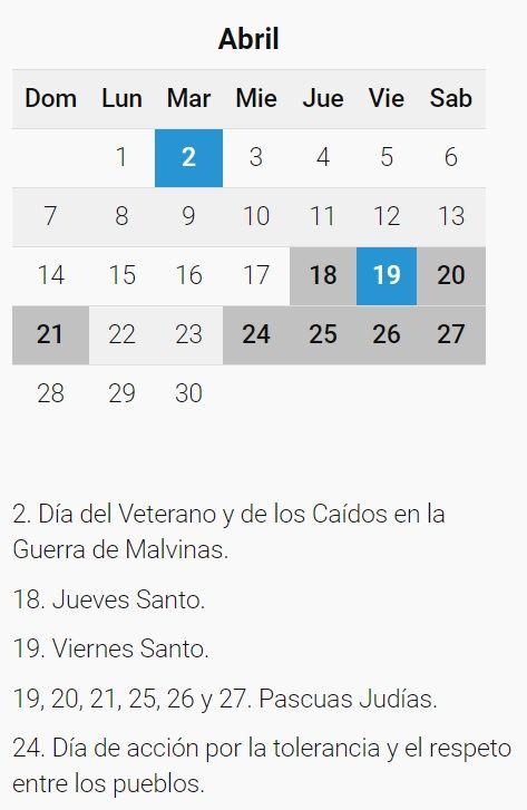 Calendario Completo.Es Feriado Puente El 1 De Abril Calendario Completo Del