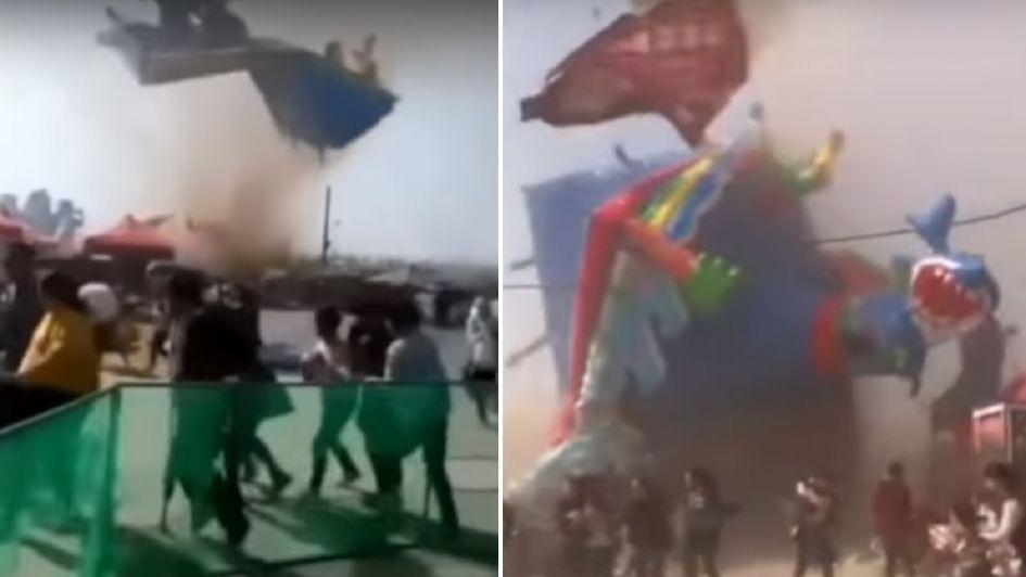 Video: una tormenta de tierra arrasó con un castillo inflable y murieron dos chicos