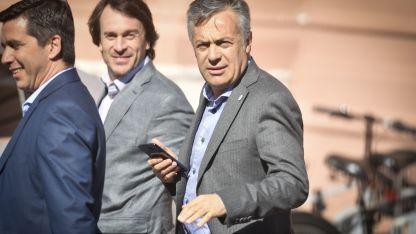 Embajada mendocina. Cornejo fue a la Rosada junto a su coordinador de Gabinete, Andrés Lombardi, y al ministro Lisandro Nieri.