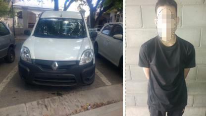 El vehículo robado y el sospechoso.