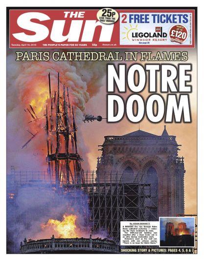 Conmoción por el incendio en Notre Dame: las mejores tapas de los diarios del mundo
