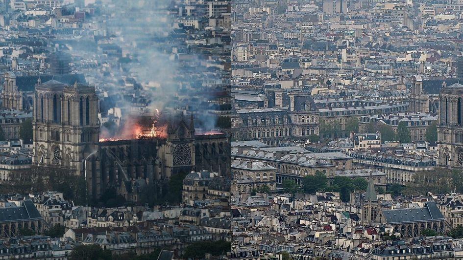 Impactantes fotos y videos: el antes y el después de la catedral de Notre Dame