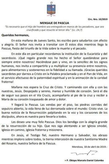 """El mensaje del Arzobispo de Mendoza por Jueves Santo: """"Nos espera la Cruz de Cristo"""""""