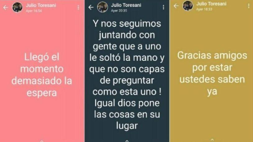 """Difunden los últimos mensajes que publicó """"El Huevo"""" Toresani antes de ser hallado muerto"""