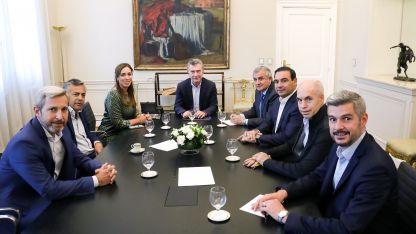 Destacado. El presidente Mauricio Macri durante la reunión que mantuvo con gobernadores oficialistas.