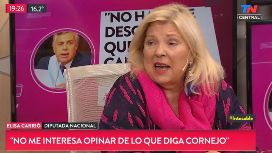 """Carrió denunció """"pacto"""" entre jueces, políticos y empresarios y criticó a Cornejo"""