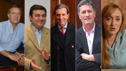 los cinco precandidatos a gobernador por las dos principales fuerzas políticas (Cambia Mendoza y el frente Elegí)