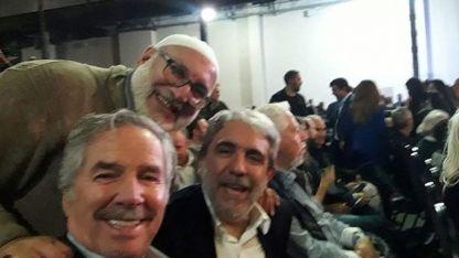 Sheij Mohsen Alí, con Felipe Solá y Aníbal Fernández en el presentación del libro.