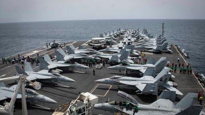 Despliegue. Bombarderos estadounidenses apostados en el Golfo Pérsico