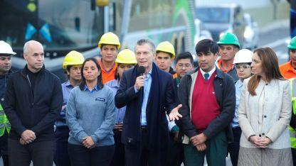 Macri, junto a Vidal y Larreta en la inauguración del Paseo del Bajo del pasado 27 de mayo.